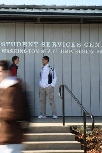 photo of students in front of student services center